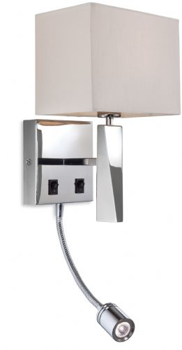 Firstlight 8226PST Polished St /Steel with Cream Shade Mansion 2 Light Wall (Switched)